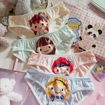 [leggycozy] Kawaii Cute Mori Girls Bow Trim Milk Silk Panties
