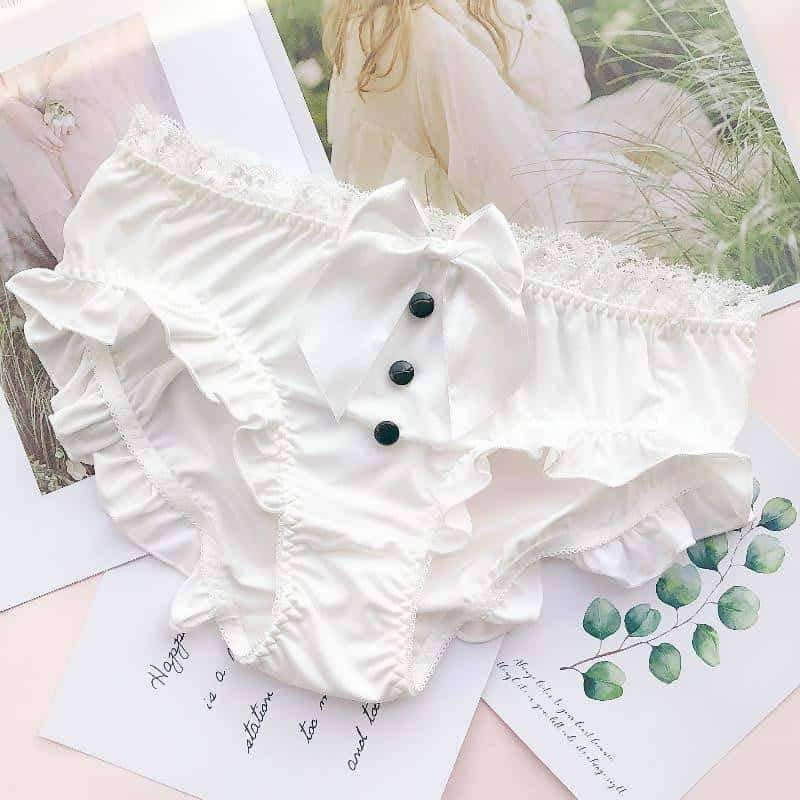 [leggycozy] Kawaii Girl's Japanese Big Bow-Knot Ribbon Princess Lace Trim Panties