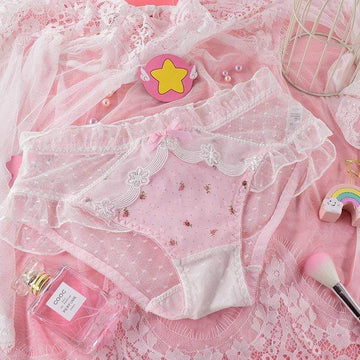 [leggycozy] Kawaii Sweet Flower Pattern Lace Bow Knot Panties