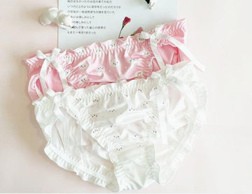 [leggycozy] Lovely Cute Kawaii Rabbit Pattern Ruffles Bow Knots Panties