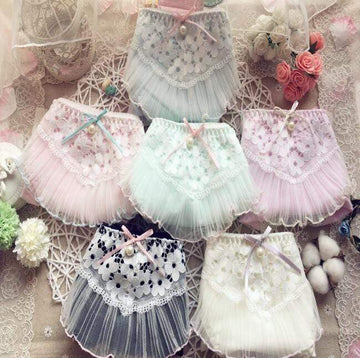 [leggycozy] Lovely Cute Kawaii Ruffle Lace Bow Knot Cotton Panties -M L XL