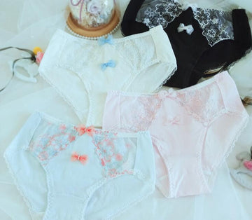[leggycozy] Lovely Floral Lace Bow Knot Embroidery Cotton Panties -Plus Size 3L 4L 5L 6L