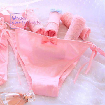 [leggycozy] Lovely Pink Color Lace Solid Mid-Rise Panties with Bow-Knot