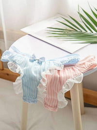 leggycozy Panties [leggycozy] Lovely Stripe Bow Knot Ruffles Milk Silk Thong Panties