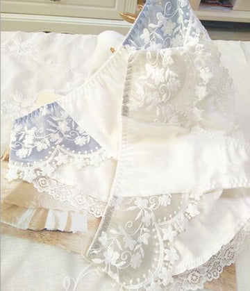 [leggycozy] Luxurious Elegant Kawaii Cotton Floral Pattern Lace Panties