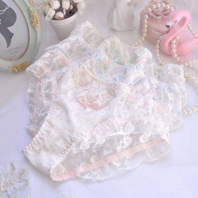 leggycozy Panties [leggycozy] Princess Kawaii Ruffle Ribbon Bow Knot Embroidery Lace Panties