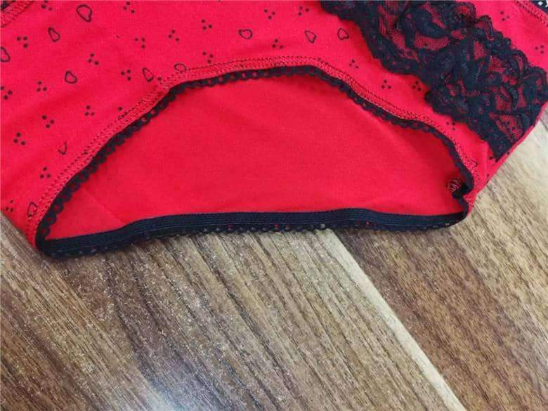 [leggycozy] Printed Heart Low-Rise Laced Panties