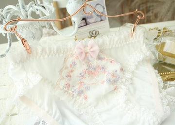 [leggycozy] Sweet Cute Bow Knot Unique Ruffle Floral Embroidery Panties