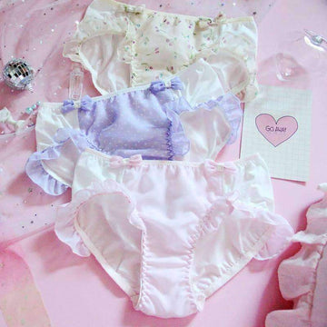 [leggycozy] Sweet & Fairy Princess Bow-Knot Chiffon Ruffle Panties -3 Colors