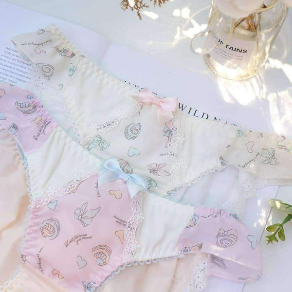 leggycozy Panties [leggycozy] Sweet Low Waist Cute Cake Pattern Chiffon Lace Bow Knot Panties