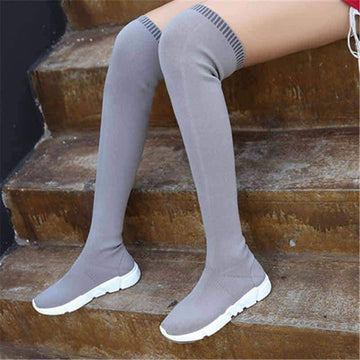 [leggycozy] Ankle & Over The Knee Low Heel Slim Sock Boots