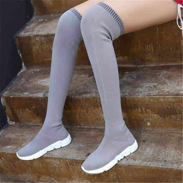 leggycozy Shoes [leggycozy] Ankle & Over The Knee Low Heel Slim Sock Boots