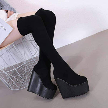[leggycozy] Girls' 16cm High Heeled Over-The-Knee Wedge Sock Boots
