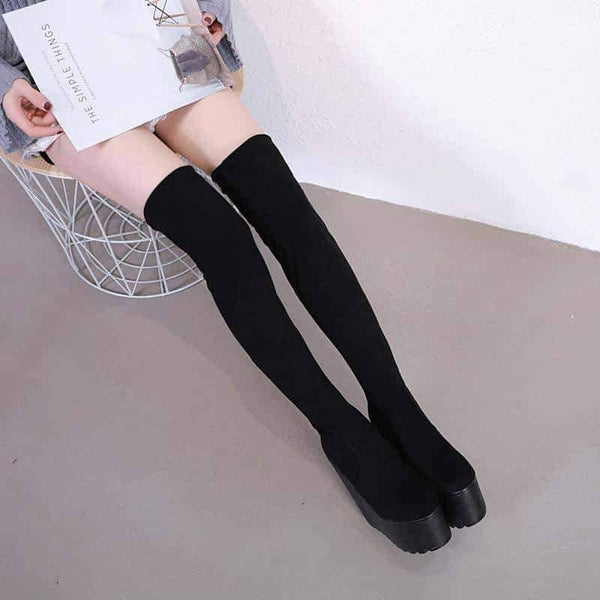 leggycozy Shoes [leggycozy] Girls' 16cm High Heeled Over-The-Knee Wedge Sock Boots