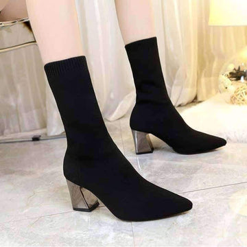 [leggycozy] High Quality High-Heeled Elastic Mid Calf Sock Boots