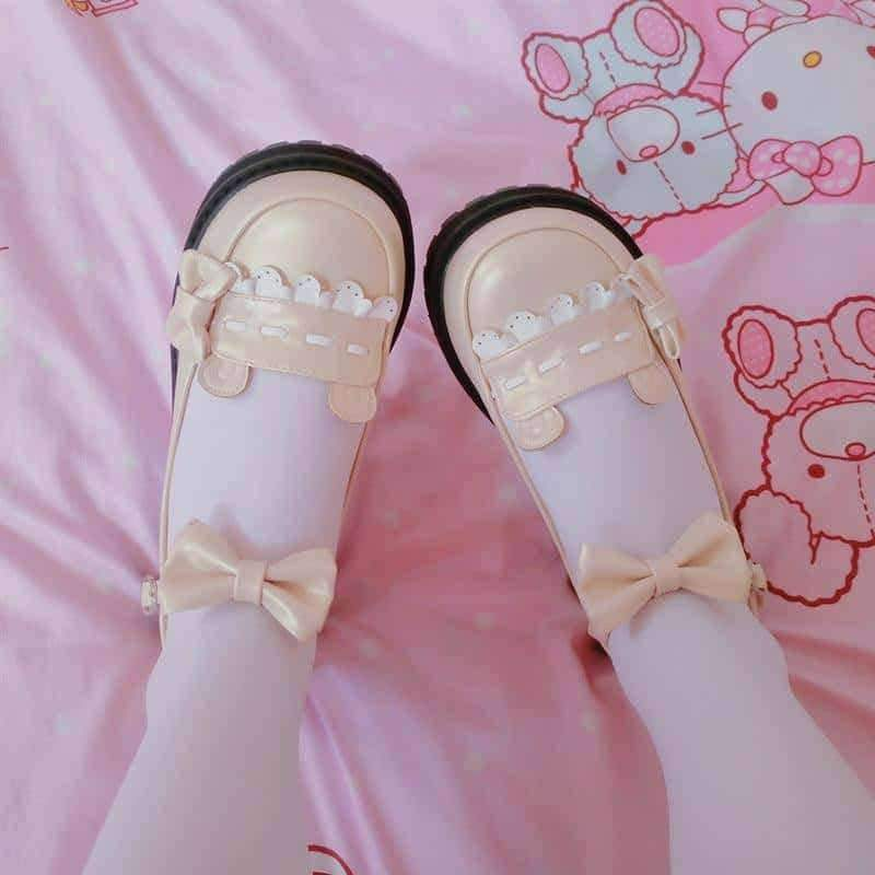 leggycozy Shoes [leggycozy] Japanese Cute Bow Tie Low Heeled Round Head Flat Platform Girly Shoes