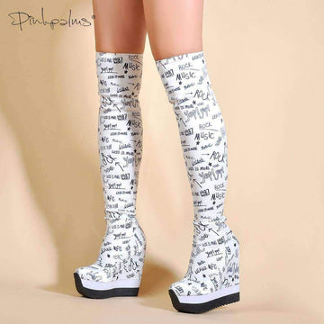 [leggycozy] Letters Print Over The Knee High Heeled Wedge Sock Boots