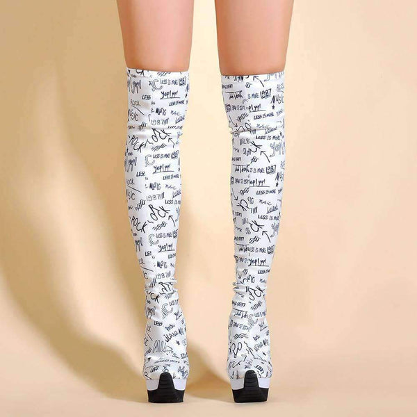 leggycozy Shoes [leggycozy] Letters Print Over The Knee High Heeled Wedge Sock Boots