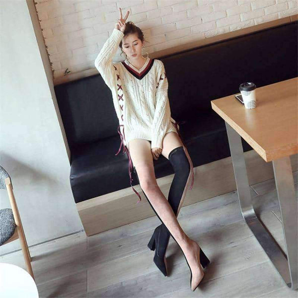 leggycozy Shoes [leggycozy] Mixed Color Fabric High Heeled Slim Fit Over The Knee Sock Boots