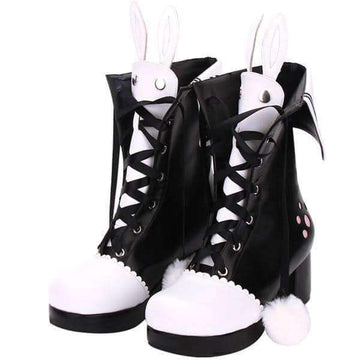 [leggycozy] Original Boots Embroidery Rabbit Ears High Heeled Anime Shoes