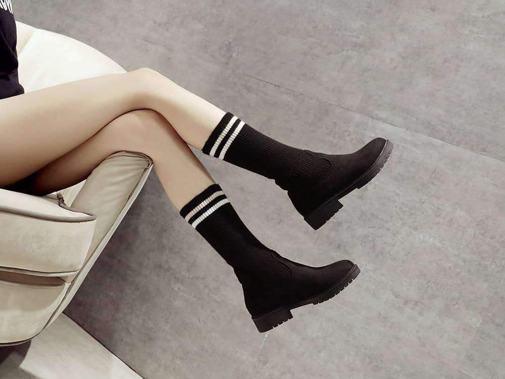 leggycozy Shoes [leggycozy] Over The Knee Elastic Slim Knitted Sock Boots -Size 33-43