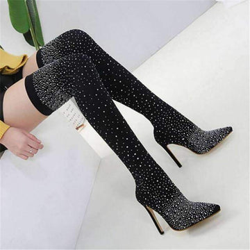 [leggycozy] Shiny & Glitter Pointy Toe Over-the-Knee High Heeled Stretchy Fabric Sock Boots