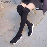 leggycozy Shoes [leggycozy] Student Trendy Casual Flat Platform Over The Knee Stretchy Sock Boots