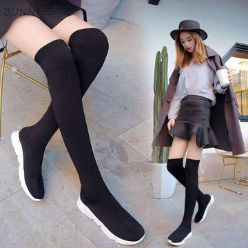 [leggycozy] Student Trendy Casual Flat Platform Over The Knee Stretchy Sock Boots