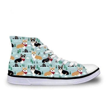 [leggycozy] Woman Cute Corgi Dog Print Vulcanized High Top Lace-Up Canvas Shoes