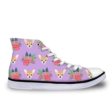 [leggycozy] Women Cute Chihuahua Print Vulcanized High Top Lace-Up Canvas Shoes