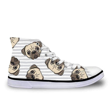 [leggycozy] Women Cute Pug Dog Print Vulcanized High Top Lace-Up Canvas Shoes