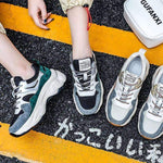 leggycozy Shoes [leggycozy] Women Platform Breathable Patchwork Chunky Sneakers