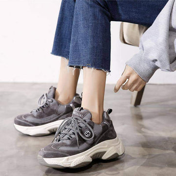 [leggycozy] Women's Casual Platform Breathable Thick Bottom Chunky Sneakers