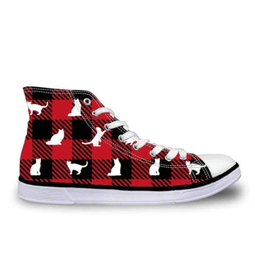 [leggycozy] Women's Cute Cats Print High-Top Vulcanized Canvas Shoes