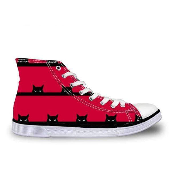 leggycozy Shoes [leggycozy] Women's Cute Cats Print High-Top Vulcanized Canvas Shoes