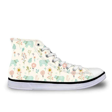[leggycozy] Women's Cute Garden Bears Cartoon Pattern Lace-up Vulcanized Canvas Shoes