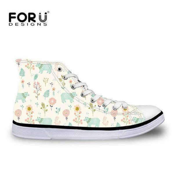 leggycozy Shoes [leggycozy] Women's Cute Garden Bears Cartoon Pattern Lace-up Vulcanized Canvas Shoes
