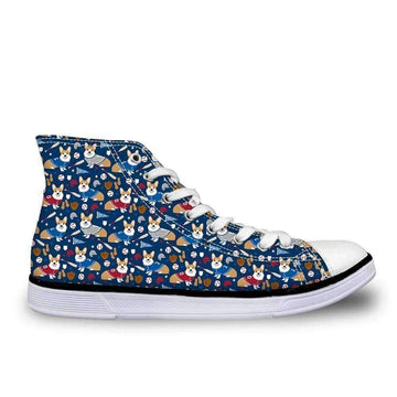 [leggycozy] Women's Cute Puppy Dog Print Lace Up High-Top Canvas Shoes