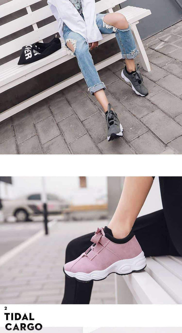 leggycozy Shoes [leggycozy] Women's Flat Lace Up Breathable Vulcanized Sneakers 35-40