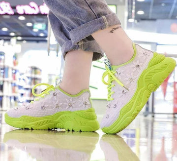 [leggycozy] Women's Floral Mesh Pattern Rhinestone Thick-Soled Platform Chunky Sneakers