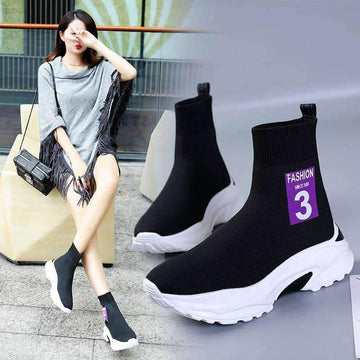 [leggycozy] Women's Flying Weaving Casual Triple Ankle Socks Sneakers -Size 35-40