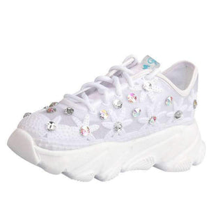 Open image in slideshow, [leggycozy] Women's Rhinestone Flower Platform White Casual Chunky Sneakers