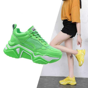 [leggycozy] Women's Stylish Cushioning Platform Causal Chunky Sneakers
