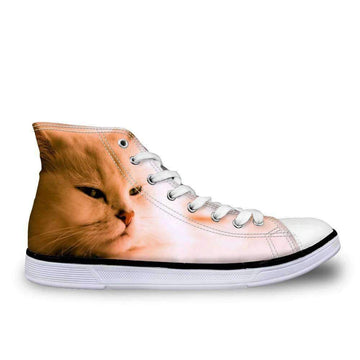 [leggycozy] Women Vulcanized 3D Cute Cat Print High Top Lace-Up Canvas Shoes