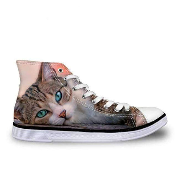leggycozy Shoes [leggycozy] Women Vulcanized 3D Cute Cat Print High Top Lace-Up Canvas Shoes