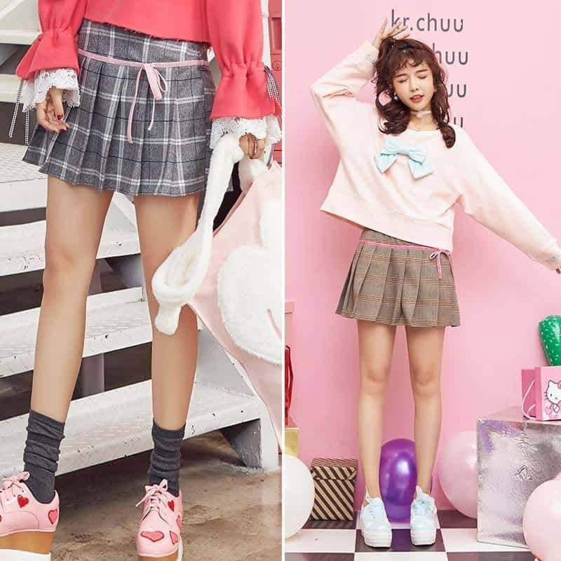 leggycozy Skirt [leggycozy] All-Match Vintage College Style Adorable Pleated Plaid Skirt
