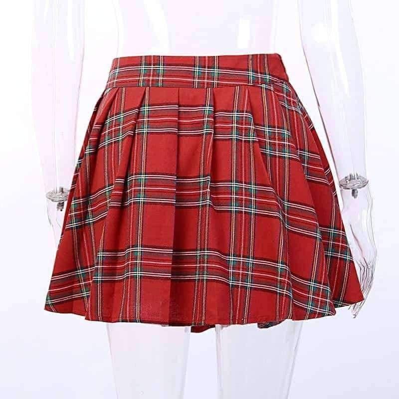 [leggycozy] Asymmetric Gothic Style Red Plaid High Waist Pleated Mini Skirt with Leather Strap