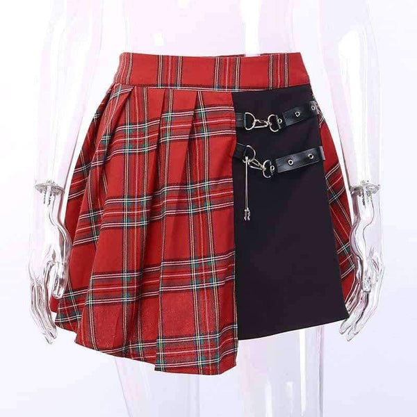 leggycozy Skirt [leggycozy] Asymmetric Gothic Style Red Plaid High Waist Pleated Mini Skirt with Leather Strap
