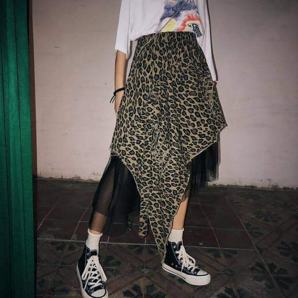 leggycozy Skirt [leggycozy] Asymmetrical High Waist Camouflage Pattern Mesh Long Skirt