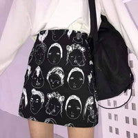 leggycozy Skirt [leggycozy] Cartoon Graffiti Face Print High Waist Mini Skirt